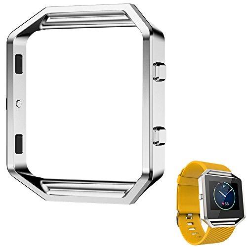 Marco de Fitbit Blaze, angolf Fitbit Blaze Accesorio Marco de acero inoxidable Metal Watch Frame Holder Carcasa de Repuesto Carcasa Funda Protectora Carcasa para Fitbit Blaze Smart Watch, plateado