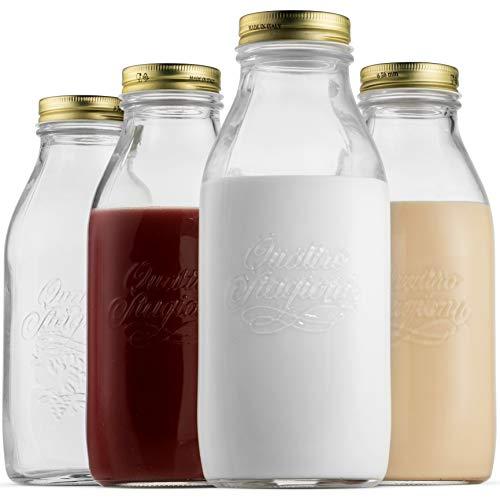 Bormioli Rocco Quattro Stagioni Glass Milk Bottle 33.75, 4 Pack, Clear