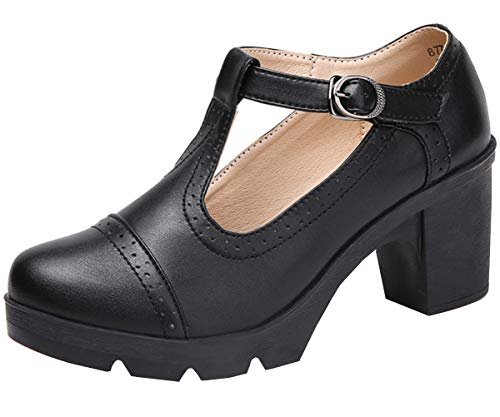 DADAWEN Women's Leather Classic T-Strap Platform Chunky Mid-Heel Square Toe Oxfords Dress Pump Shoes Black US Size 9
