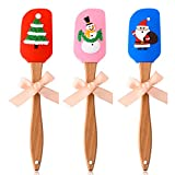 Silicone Spatula,Set of 3 Christmas Silicone Spatula,Food Grade Silicone Santa Claus, Snowman Pattern Cream Butter Spatula with Wooden Handle,for Christmas Cooking,Gift Set