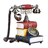FTFTO Equipo de Vida Creativo Antiguo Libro de Resina en Forma de teléfono Fijo con Cable Retro Dial teléfono para Oficina en casa Hotel Galería de Arte