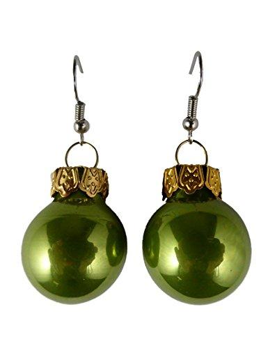 Handgemacht Weihnachtschmuck Ohrringe Weihnachten Schmuck Hänger Christbaumkugel Weihnachtskugel Baumschmuck grün glänzend K170