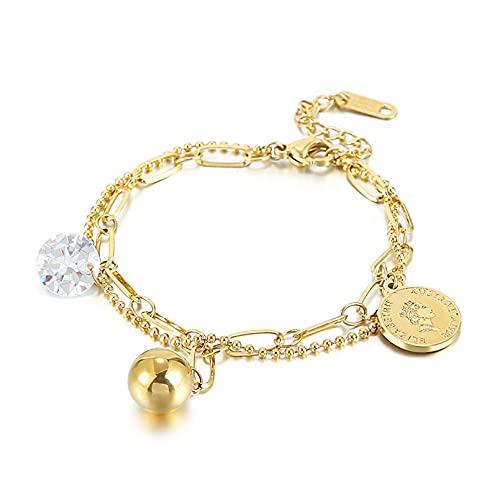 N/A Pulsera Doble de Monedas de Acero Inoxidable de Oro de pequeñas joyasAniversario Día de la Boda Navidad Día de la Madre Regalo de cumpleaños.