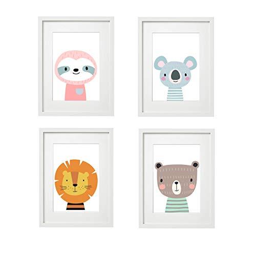 Kinderzimmer Bilder Babyzimmer Poster DIN A4 | Mädchen Junge | Baby Tiere Wald | farbig | Babyzimmer Deko…(#3 4er Set)