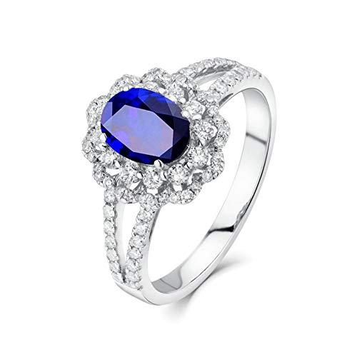 AueDsa Anillo Azul Anillo de Mujer de Oro Blanco 18 K Flor con Oval Zafiro Azul Blanco 1.33ct Anillo Talla 9,5