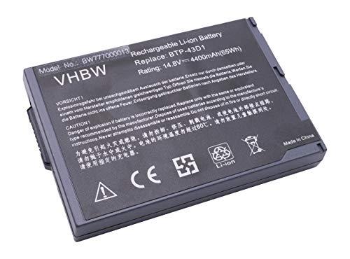 vhbw Batterie LI-ION 4400mAh 14.8V Noir Compatible pour Acer remplace BTP-43D1 / 60.49S22.011