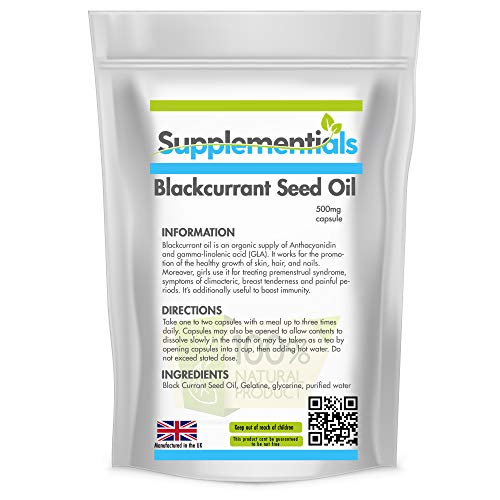 Supplementials Blackcurrant Seed Oil 500mg Softgel Capsules Supplement   Anti-inflammatory   Cardio Protective   Anti-Dermatitis   Natural Supplement (60)