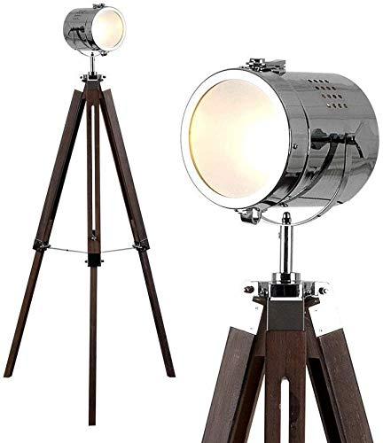 HTZ-M Lámpara de pie trípode Ajustable Estilo Estudio de Cine/fotografía Industrial Retro Vintage Elegante en Madera Oscura y diseño de Cromo Pulido con Lente esmerilada