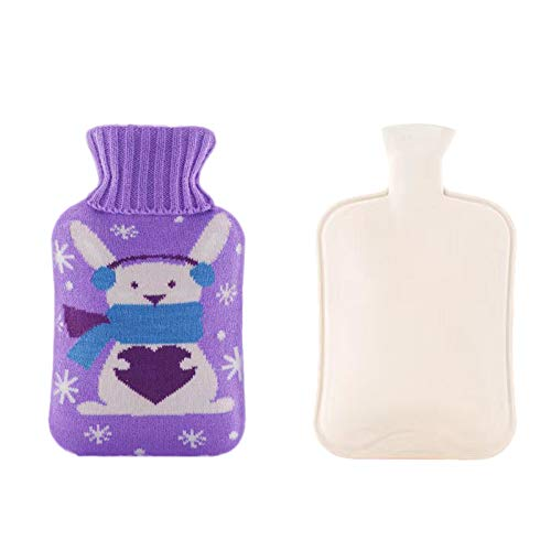 Fineday Hot Water Bottle, 2 Liter PVC Water Bag with Knit Cover Suitable for Christmas, Hand Warmer, for Christmas Day (E)