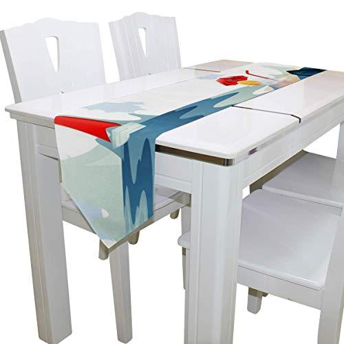 N/A eettafel loper of dressoir sjaal, pinguïn ontspannen op het strand dek tafelkleed loper koffie mat voor bruiloft partij banket decoratie 13 x 90 inch