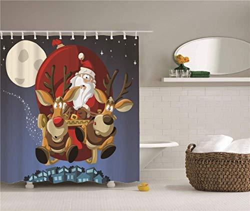 WOYQS Weihnachtsmann Duschvorhang Proof Beständig Waschbar Badvorhang Liner Polyester-Gewebe Mould Anti-Rost Hängenden Ring Mit Haken Duschvorhang 180x180cm