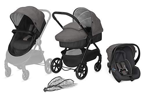 cbx 3-in-1 Kombikinderwagen, Kinderwagen Onida mit Babyschale Shima, inkl. Regenverdeck, Ab Geburt, Comfy Grey