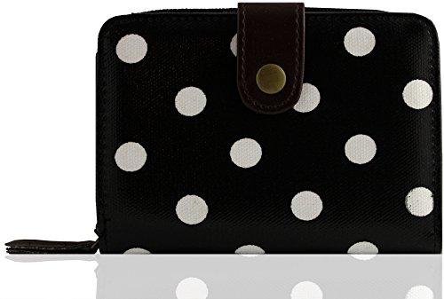 kukubird Eulen-Muster Mittelhandtasche/Kupplung/Geldbörse (Polka dot (Black with White dot))