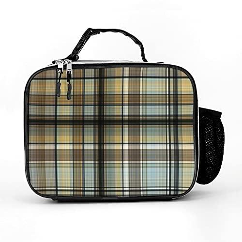 AXGM Bolsa isotérmica clásica a cuadros escoceses, bolsa para el almuerzo, bolsa de pícnic, bolsa térmica impermeable, bolsa isotérmica para viajes, color blanco, talla única
