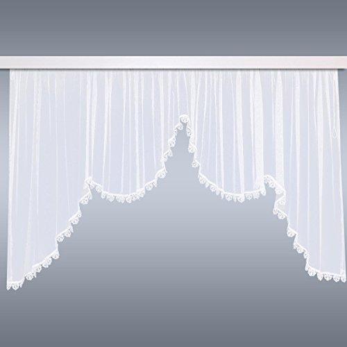 SeGaTeX home fashion Blumenfenster-Store Carolina | Modellgardine mit Echter Plauener Spitze und Kräuselband für Gardinenhäkchen Fertigstore