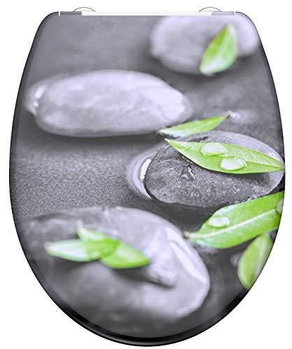 SCHÜTTE STONE 82374 WC-Sitz Duroplast, Toilettensitz mit Absenkautomatik und Schnellverschluss für die einfache Reinigung, maximale Belastung 150 kg, Motiv Steine