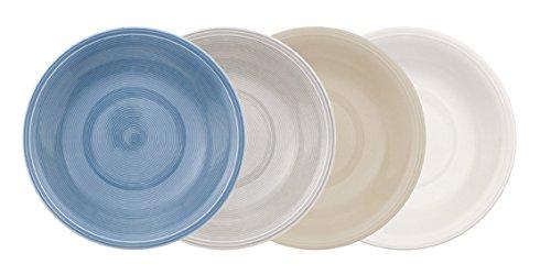 vivo by Villeroy & Boch Group Color Loop Assiettes creuse, Lot de 4, Diamètre : 24,5 cm, Porcelaine Premium, Multicolore