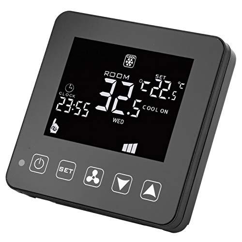 Shipenophy Termostato WiFi Controlador de Temperatura de Bobina de Ventilador Digital Retardante de Llama de Alta confiabilidad para Aire Acondicionado Central con Pantalla LCD