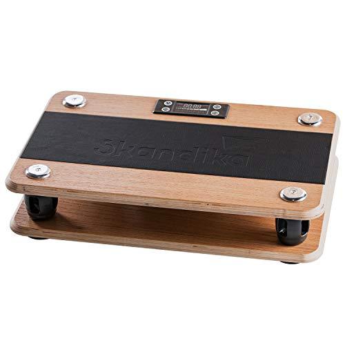 skandika Vibrationsplatte Virke aus Holz | Eiche Echtholz | Nachhaltig ohne Plastik | 99 Geschwindigkeitsstufen | Fitness- und Yoga-Zubehör | Inkl. Fernbedienung und Transporttasche aus Baumwolle