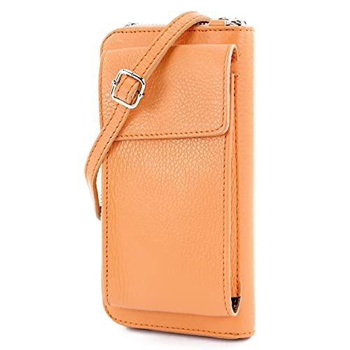 modamoda de - P06 - ital. Damen Umhängetasche Geldbörse Handytasche Leder, Farbe:Apricot