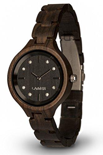 LAiMER orologio in legno MARIA DARK – orologio da polso femminile fatto di legno sandalo con cristalli di Swarovski incastonati