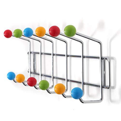 DESIGN DELIGHTS GARDEROBENLEISTE Colour Ball BUNT Silber| 50x15,5x6,5cm(LxHxT) | farbenfrohe Wandgarderobe, Garderobe mit 12 Haken, Hakenleiste mit bunten Kugeln