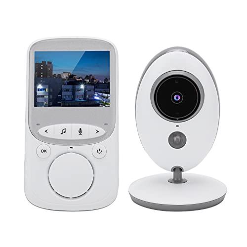 Monitor de Vídeo para Bebés, Monitor de Vídeo Digital Inalámbrico de 2,4 GHz, Cámara de Seguridad para el Hogar con Monitor de Temperatura, Audio Bidireccional, Visión Nocturna(Blanco)