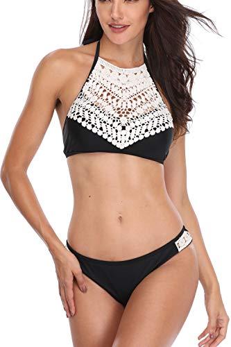 MEMORY BABY Damen Sexy Bikini Set Push Up Badeanzug Gehäkelt Neckholder Swimsuit Streifen Beachwear (Schwarz,M/EU38-40)