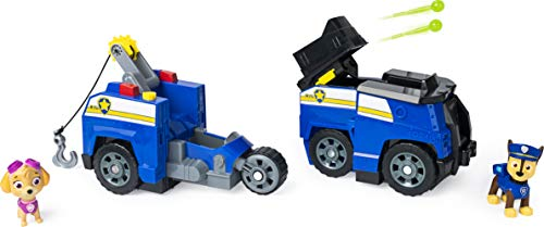 Paw Patrol, Chase Split-Second 2-in-1 Transforming Police Cruiser Vehicle with 2 Collectible Figures