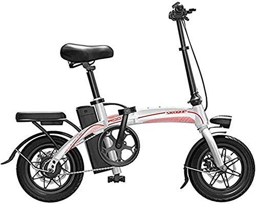 Bicicleta Eléctrica Plegable Bicicleta eléctrica de nieve, bicicletas eléctricas rápidas para adultos 14 pulgadas rueda marco de acero de alto carbono 400W Motor sin escobillas con batería de iones de