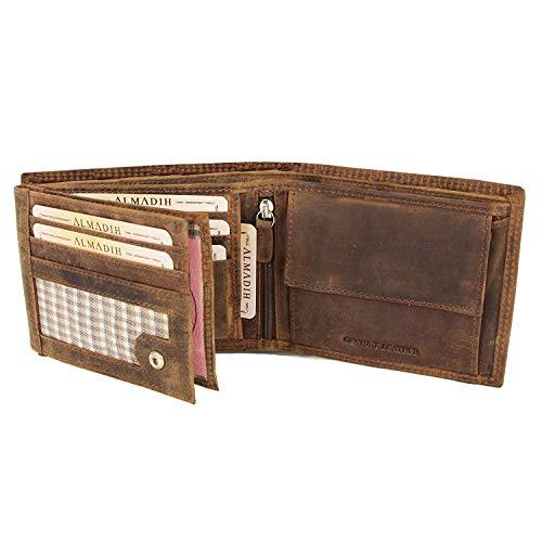 ALMADIH ® Premium Leder Portemonnaie mit RFID Schutz querformat 15 Kartenfächer in Geschenkbox P2Q BV Rinsleder Herren Damen Börse Unisex Geldbörse Geldbeutel Portmonee Brieftasche Braun (P2Q Vintage)