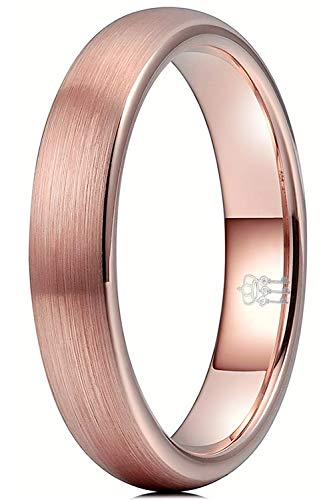 THREE KEYS JEWELRY Womens Charming Jewelry Brushed Tungsten 4mm Wedding Carbide Rose Gold Ring Band for Women Engagement Size 7.5