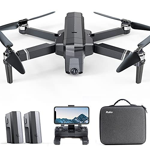 Ruko F11 Pro Drone 4K Quadcopter UHD Live Video GPS Drones, FPV Drone with Camera for Adults Beginner 30 Mins Flight Time Long 2500mAh Battery Brushless Motor-Black(1 Extra Battery + Carrying Case)