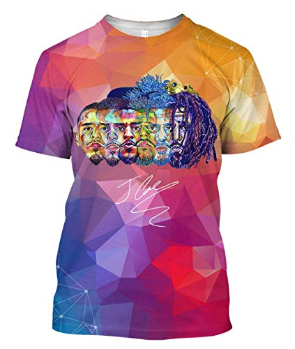 J Cole Shirt King Cole Dreamville Tshirt Men KOD Shirt Hip hop Short-Sleeve Black