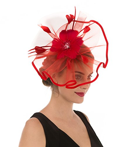 SAFERIN Fascinator Hat Feather Mesh Net Veil Party Hat Flower Derby Hat with Clip and Hairband for Women (TA1-Red)