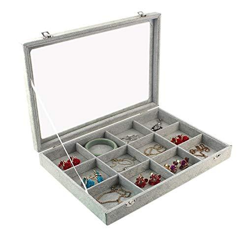Estuche de transporte de 12 rejillas de terciopelo gris con tapa de vidrio Soporte de exhibición de anillo de joyería Soporte de caja de almacenamiento Organizador Pendientes de anillo