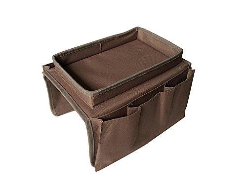 Dasking - Portaoggetti per bracciolo del divano, ottimo per telecomando e tazza da tè, Nylon, marrone, taglia unica