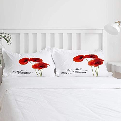 Kanaite Red Poppy Coquelicot Juego de Funda nórdica de 3 Piezas Juego de edredón Moderno Juego de Ropa de Cama Microfibra hipoalergénica Ultra Suave (1 Funda nórdica y 2 Fundas de Almohada)