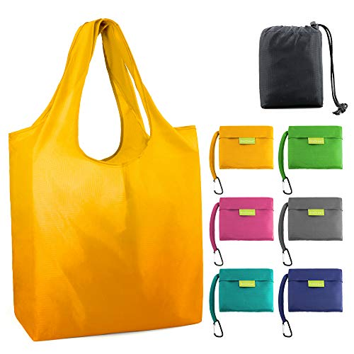 Large-Shopping-Bags-Reusable-Grocery-Bag 50LBS Foldable Tote Bag Groceries Folding Bags with Pouch Bulk 6 Pack Washable Durable Lightweight Green Teal Yellow Grey Pink Navy