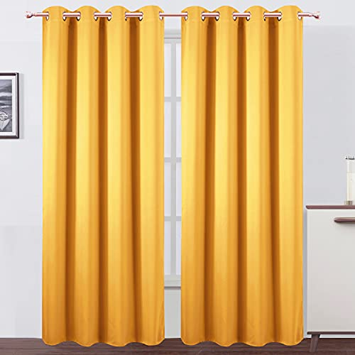 LEMOMO Yellow Thermal Blackout Curtains/52 x 84 Inch/Set of 2 Panels Room Darkening Curtains