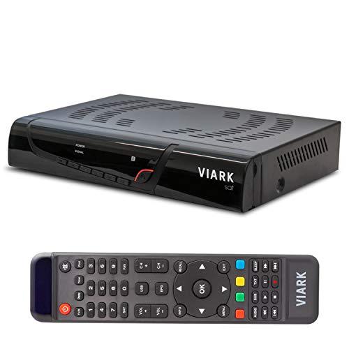Viark Sat - Receptor Satélite Digital Full HD DVB-S2 Multistream H.265 HEVC, con LAN, Antena WiFi USB y Lector de Tarjetas CA