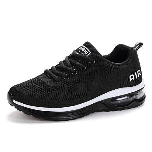 Zapatillas de Deporte Hombre Mujer Running Bambas Ligero Zapatos para Correr Respirable Calzado Deportivo Andar Crossfit Sneakers Gimnasio Moda Casuales Fitness Outdoor Blackwhite01 41
