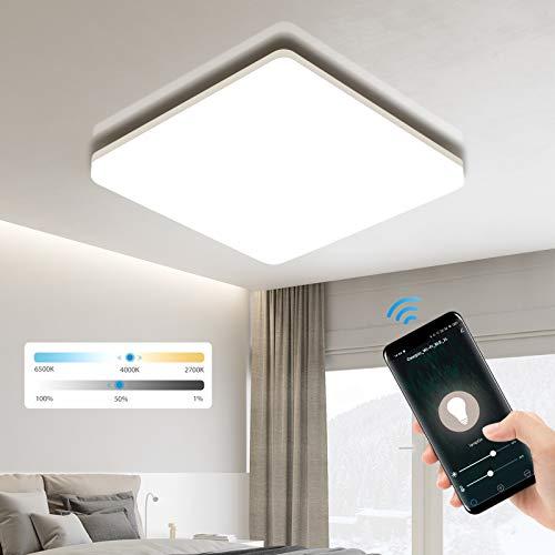 Oeegoo Lámpara LED de techo con Bluetooth 18 W, 1800 lm, WiFi, regulable, 100 lm/W, IP54, lámpara de baño, compatible con Alexa y Google y aplicación de control por voz