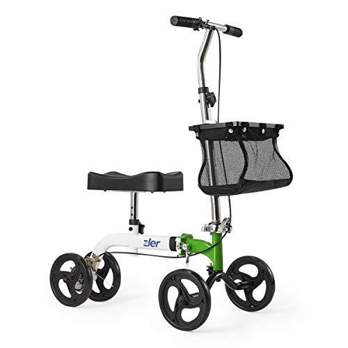 Zler Knee Scooter, Deluxe Steerable Knee Walker Knee Scooter Knee Cycle Leg Walker Crutch Alternative Green