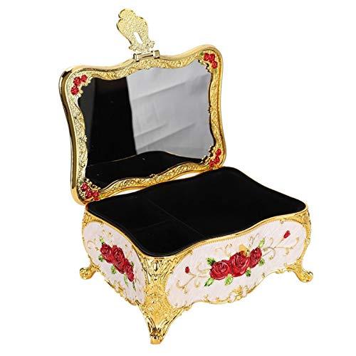 Clasken Caja de Almacenamiento de joyería, Cubierta de Espejo Decorativa, Caja de Almacenamiento Duradera Vintage, para exhibición de Tienda, decoración del hogar, colección Familiar con Cerradura