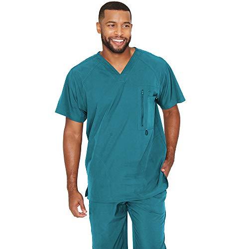 Barco One – Blusa de uniforme médico com 5 bolsos e gola V reforçada para homens – top de uniforme médico com elasticidade em 4 direções, Teal, Medium