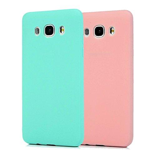 Funda Samsung Galaxy J5 2016, 2Unidades Carcasa Samsung J510 Silicona Gel, OUJD Mate Case Ultra Delgado TPU Goma Flexible Cover para Samsung Galaxy J510/J5 2016 - Cielo azul + rosa