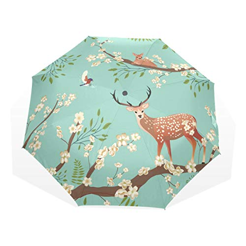 LUYISI 日傘 折りたたみ 軽量 手開き 折り畳み傘 鹿柄 桜柄 花柄 レディース uvカット 梅雨対策 耐風撥水 晴雨兼用 収納ポーチ付き