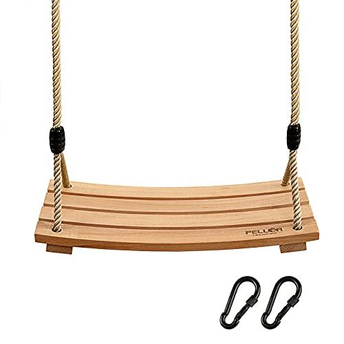 Pellor Wood Tree Swing Seat,Indoor Outdoor Rope Wooden Swing Set for Children Adult Kids 17.7x7.9x0.6 inch
