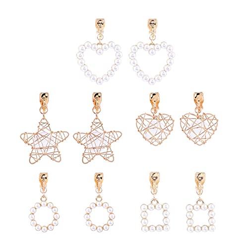 LOKILOKI 5 Paia/Set di Orecchini A Clip A Forma di Cuore Geometrico con Perle Finte Stile Coreano Senza Fori per Orecchino A Clip con Polsino in Cristallo Moda Ragazza Ragazza